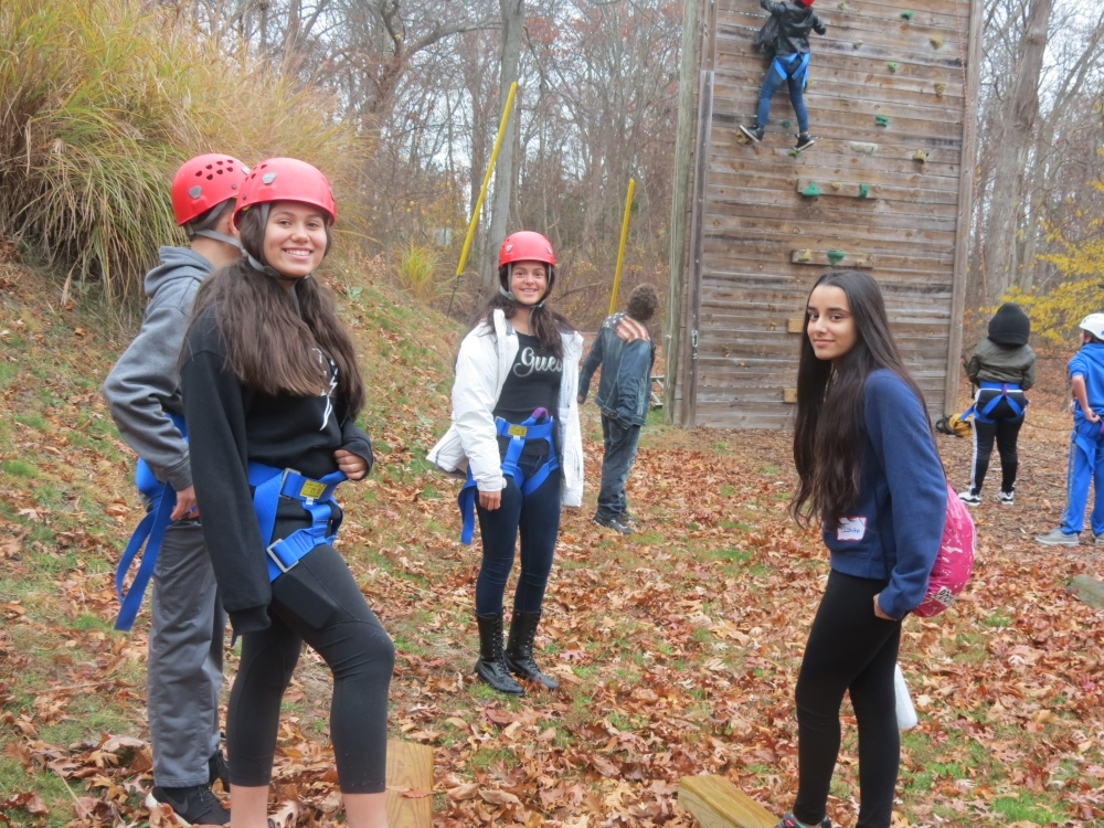 Fall Campers Climbing